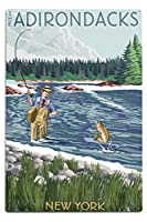 The Adirondacks、ニューヨーク州–釣りシーン 12 x 18 Metal Sign LANT-44154-12x18M