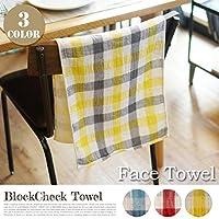 Block Check face towel kontex ブルー