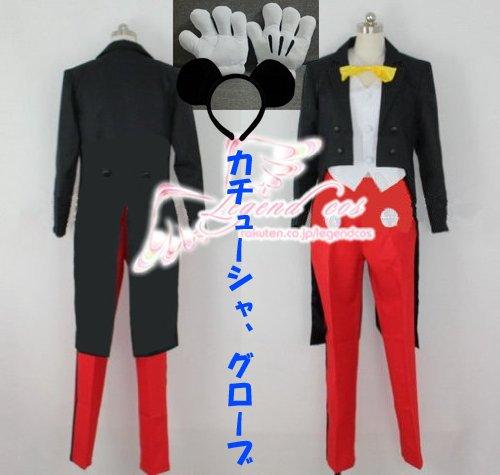 即納 高品質 コスプレ衣装 ミッキーの夢物語 コスプレ衣装+カチューシャとグローブセット (L)
