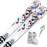 スワロー(SWALLOW) 4点セット ジュニアスキー SNOW PAZZLE 120cm/ストック95cm, ブーツ21cm ワックス施工付き