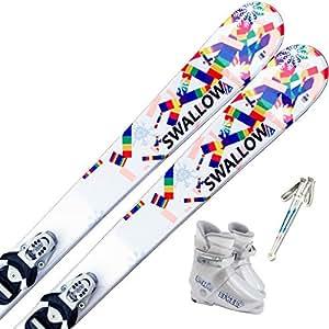 スワロー(SWALLOW) 4点セット ジュニアスキー SNOW PAZZLE 100cm/ストック85cm, ブーツ18cm