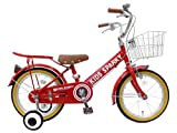16インチ 子供用自転車 キッズスパーキー 補助輪付き 幼児自転車 男の子 女の子 組立済み (レッド)