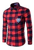 (リグリ) LIGLI メンズシャツ 長袖 大人カジュアル チェック ネルシャツ 服収納袋セット レッド M