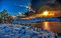 冬の風景、夕日、雪、川、空、雲、白、影 キャンバスの 写真 ポスター 印刷 旅行 風景 景色 (90cmx60cm)