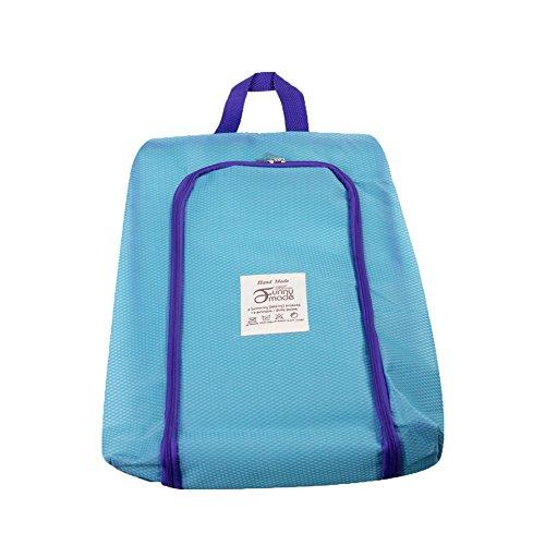 シューズバッグ 防水収納ケース 靴入れ 小物入れ 旅行 出張 ジム用バッグ (ブルー)