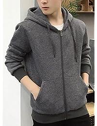 chenshiba-JP メンズロングスリーブジップアップカジュアルな灰色烏スウェットシャツジャケット