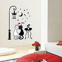 goupgolboll-DIYの家の装飾のカップル猫取り外し可能な壁アートビニールステッカーの壁紙