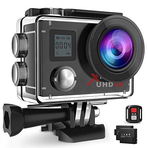 Campark®ACT76 アクションカメラ 4Kアクションカメラ 1600万画素 1080PフルHD 30fps ウルトラHD 30m防水 WiFi搭載 32GBカード対応 ウェアラブルカメラ 170度広角 魚眼レンズ 超絶画質 ドライブレコーダーとして使用可 バイク/自転車/車に取り付け可能 音声録画 2インチ液晶画面 日本語取説付属