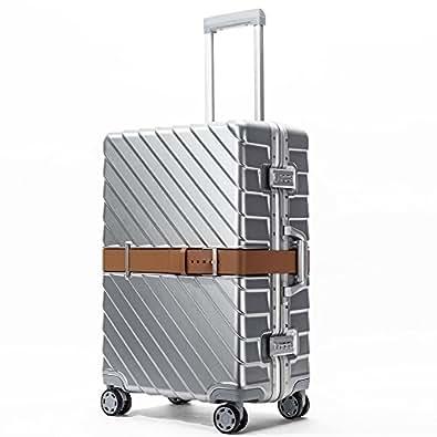 クロース(Kroeus) スーツケース TSAロック ベルト付き 4輪双輪キャスター 静音 3段階調節キャリーバー キャリーケース 大容量 軽量 旅行 出張 一年保証 S シルバー