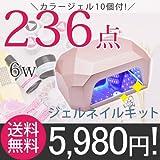 ◆【カラージェル10個付き】新作ライトも要チェック!ジェルネイル スターターキット [236点プロキット] LEDライト 6w:ホワイト:(D)フェミニンセット