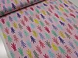 カラフルうさぎ ピンク CBプリント  |生地|布|入園入学|キッズ|女の子|ウサギ|ラビット|かわいい|ソーイング|手芸|手づくり |