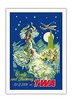 スペイン - 美と調和 - TWAでスペインに飛ぶ - ビンテージな航空会社のポスター によって作成された ペール・クラペラ c.1950s - 美しいポスターアート