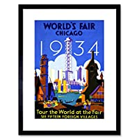 Vintage Ad World Fair Chicago 1934 Illinois USA Framed Wall Art Print ビンテージ世界公正シカゴアメリカ合衆国壁