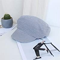 HENGTONGTONGXUN Ins Octagonal Cap Korean Version of Japanese Wild Female Autumn and Winter Beret Hat Retro Student Simple and Practical Product (Color : Grey, Size : Adjustable)