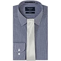 VAN HEUSEN VHSTP004U MEN Navy Check Shirt with Silver Tie Gift Set, Navy Shirt / Silver Tie