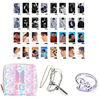 PINGJING BTS Gift Collection 32Pcs BTS Love Yourself Tear Postcard Lomo Card Set with Cute Gradient Wallet, Necklace and Finger Ring