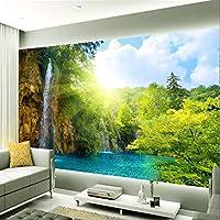 Ansyny カスタム写真の壁紙朝日背景滝風光明媚な湖のリゾート地の大きな壁画の3D壁の壁画の壁紙-260X175Cm