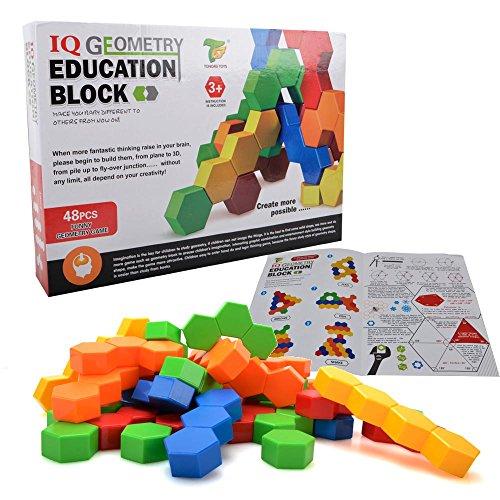 六角形つみき キューブ ブロック 積み木 - Happytime JTB17026 (2017新発売) 48pcs パズル キッズ用 おもちゃ 知育玩具