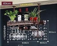 ワイン ラック 調節可能な高さ、天井 マウント済み ぶら下がっている ワイン ボトル 保有者 クリスタルデコレーション 金属 鉄 ワイン ガラス ゴブレット ステムウェア ラック - 60×25×32cm