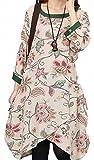 コットンプリントドレス ラウンドネック 7分袖 ワンピース ゆったり ふんわり 大きいサイズ 体型カバー マタニティー(緑柄XL)