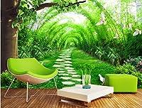 C406 巨大 3D フロアマット 3m*4m* 自然 葉っぱ 石 芝生 花 木 空 風景 景色 防音 断熱 滑り止めシート 床 壁 天井 はがせるシール