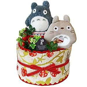 【出産祝い/おむつケーキ】トトロのおもちゃ&タオル付き。パンパースでできた2段オムツケーキ
