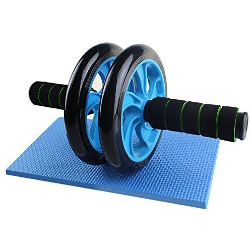 Justcool 腹筋ローラー 静音 安全 簡単 コンパクト 耐久性 2輪 健康フィットネス用品 腹筋トレーニング器具 膝を保護するマット付き アブホイール エクササイズローラー