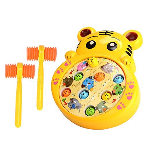 Petforu モグラ叩きゲーム 土竜たたき おもちゃ お腹の盤が転回できる 音楽効果あり 知育玩具 赤ちゃん ベビー 子供用 幼児 トラ