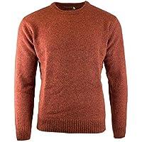 Men's Shetland Wool Crew Neck Cardigan Sweater Knitted Jumper Pullover