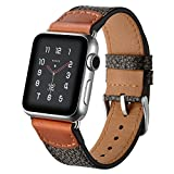 HERMES 時計 (42mm, B-Black) - Aottom For iWatch Strap 42mm Leather, Apple Watch 42mm Leather Strap Soft Flexible Replacement Band Wrist Straps with Metal Buckle Clasp Bracelet Wristband for 42mm iWatch Band Series 3/2/1 - Black