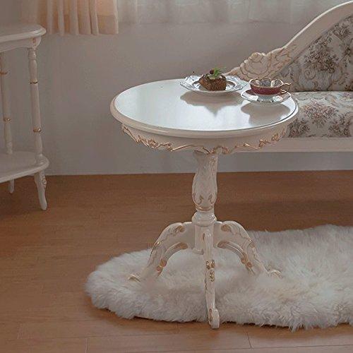 輸入家具:ロココ調アイボリーゴールド4本脚iサイドテーブル