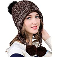 Urban CoCo Women's Winter Cable Knitted Pom Pom Beanie Hat Earflap Caps