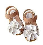 BEREAM マジックテープ 履きやすい 花 モチーフ 女の子 キッズ クッション サンダル 滑り止め 付き 子供 靴 (24//14.5cm, ホワイト)