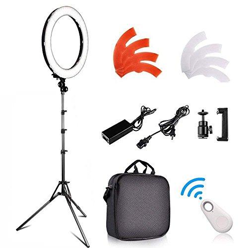 FOSITAN 外径48cm/18inLEDリングライトセット カメラ写真ビデオ用照明キット 5500K 調光可能 240個の高輝度SMD LED 2Mライトスタンド、カラーフィルター、アダプターとJPプラグ付付き Youtube、自撮り撮影、スマートフォンや一眼レフカメラなどに使う