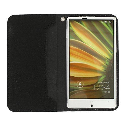 DIGNO ISW11K 手帳型ケース スエード調 (カラー ブラック) ケース カバー ディグノ 手帳ケース 手帳カバー スマホ au エーユー