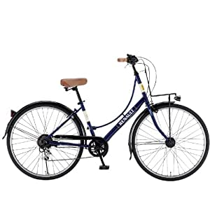RENAULT(ルノー) 266L Classic-R4 ブルー 26インチ(パンクしにくい強化タイヤ<アラミド繊維とセラミック粒子による強化層でパンクしにくい>)  シマノ6段変速ギア搭載 シティサイクル LEDオートライト/リング錠/ローラーブレーキ/泥除け/別売カゴ取付用フロントキャリア標準装備 11404-0399 AMZ