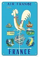 22cm x 30cmヴィンテージハワイアンティンサイン - フランス - エアフランス - ギャリックルースター風見とフランスの目印 - ビンテージな航空会社のポスター によって作成された ジャン・マリー・ナバラン c.1951
