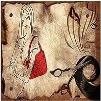 山笑の美 写真の壁紙ノスタルジックな木製ライン手絵画ファッション美容理髪店飾る背景壁画-200X140CM
