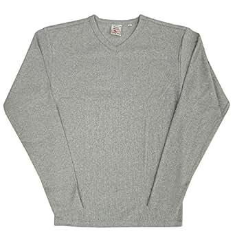 AVIREX デイリー Vネック ロングスリーブ Tシャツ #6153480 Sグレー