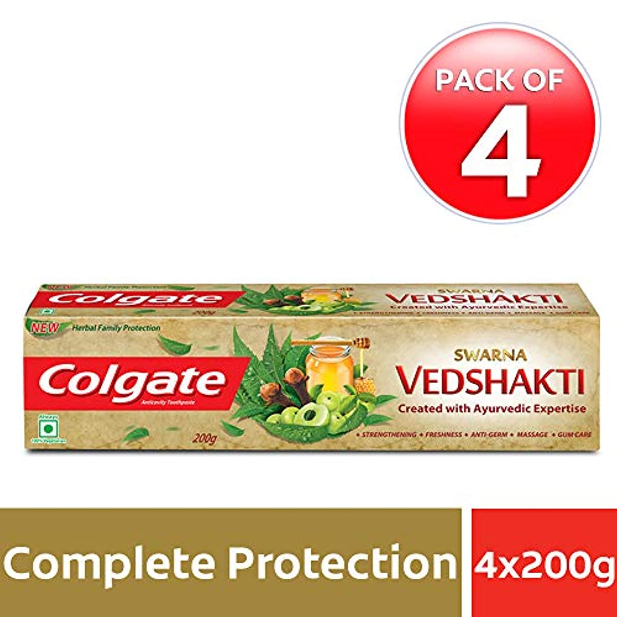 警報病気の部屋を掃除するColgate Swarna Vedshakti Toothpaste - 200gm (Pack of 4)