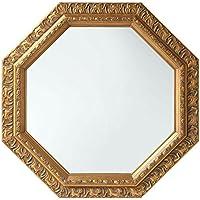 鏡 壁掛け 八角形 アンティーク調 51.5cm 飛散防止加工 卓上 かがみ ミラー ゴールド