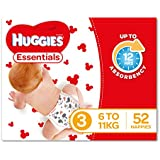 Huggies Essentials Nappies, Size 3, 52 Count