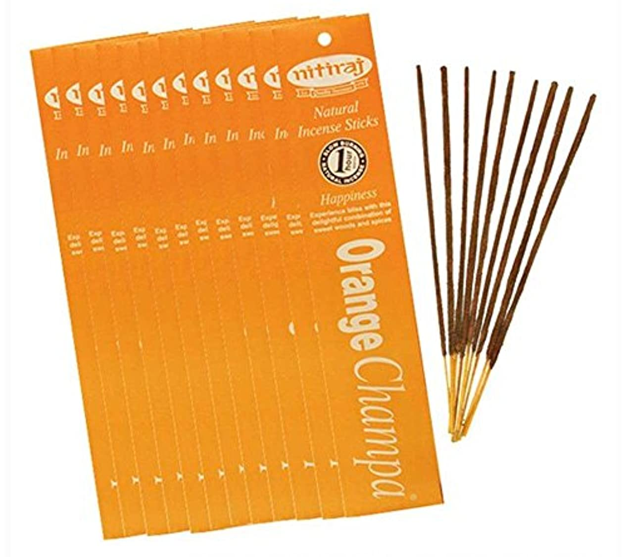 放映知恵屋内Nitiraj Natural Champa Incense Slow Burning 1hr。Sticks 10 gr。2パックセット PN5
