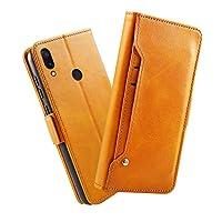 (の Xiaomi Redmi Note 7) フリップ 財布 シェル カバー 360度 フル ボディー 保護 緩衝器 カバー, プレミアム レザーフォンケース 材料 - Orange