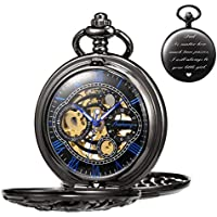 TREEWETO Antique Engraved Mechanical Pocket Watch Lucky Dragon Hollow Case Double Hunter Skeleton Dial Gifts for Dad Papa Father Daddy Customized Customization Custom Engraving Gift