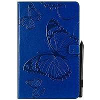 JDDR タブレットケース、 蝶の花の花柄PUレザーウォレットスタンドタブレットケースサムスンギャラクシータブA 10.5インチ2018 SM-T590 / T595 (色 : 青)