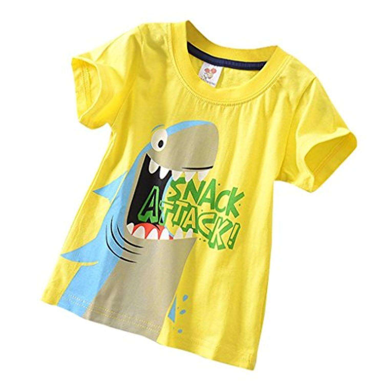 Kukiwa男の子Tシャツ サメプリント 90CM~130CM 半袖 ベビー ボーイズ服  男 キッズ服 平日
