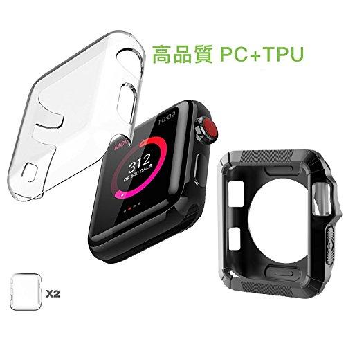 JTLife Apple Watch Series3 Series2 42mm 保護ケース 3枚入り PC+TPU二層構造 衝撃吸収 バンパー アップルウォッチ 3 高品質 クリスタル クリア 透明カバー 柔らかいカバー PC+TPU 全面保護ケース(42MM, 三枚入)