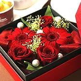 母の日アレンジ花ギフトセット プリザーブドフラワーとスイーツ(赤色BOX) 【5/9~5/13着】