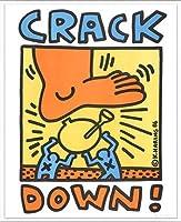 ポスター キース ヘリング Crack Down 1986 額装品 アルミ製ベーシックフレーム(ホワイト)